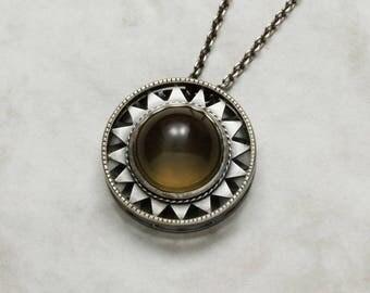 Art Deco style pendant necklace, brown quartz pendant necklace, cats eye jewelry