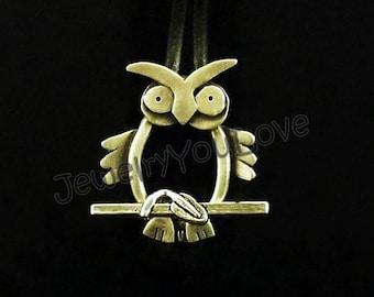 Sterling Silver / Leather Owl Bracelet - Oliver