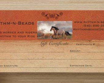 GIFT CERTIFICATE, Gift Cards, Trail Beads for Horses, Rhythm Bead necklace, Horse Necklace, Rhythm Beads, Natural Horsemanship, Horse Bells