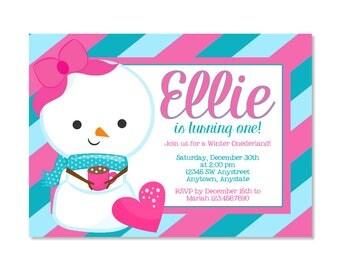 Snow Girl Birthday Invitation