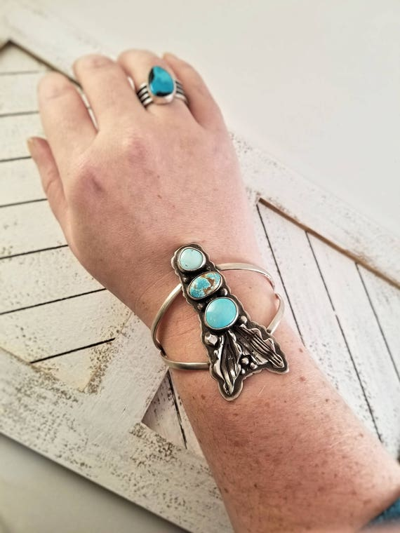 Handmade Triple Blue Gem and Fox Turquoise Statement Cuff, Sterling Triple Turquoise Bracelet
