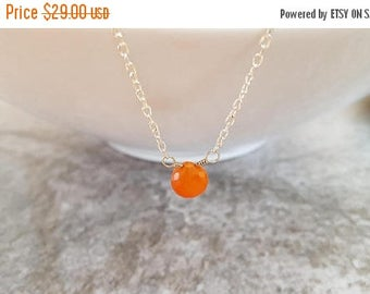 Clearance Carnelian Necklace - Natural Orange Gemstone Briolette Silver Plated Chain Necklace - Minimalist Jewelry, jingsbeadingworld,  Read