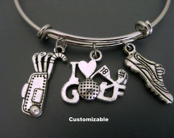 Golf Bracelet /  Golf Bangle / Golf Mom Bracelet / Golf Fan Bangle / Adjustable Bracelet / Charm Bangle / Expandable Bangle / Golf Lover