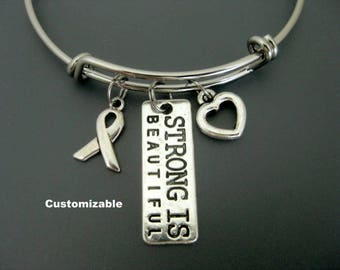 Cancer Bangle / Cancer Bracelet / Strong is Beautiful Bangle / Survivor Adjustable Charm Bracelet  / Breast Cancer / Cancer Awareness Bangle