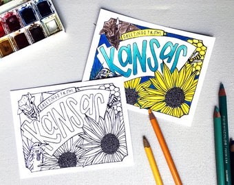 Coloring Postcard, KANSAS handdrawn postcard