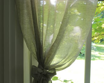 Sheer Linen Curtain Panels . Set of 2. Gray. 100% Pure Linen. Prewashed and softened.