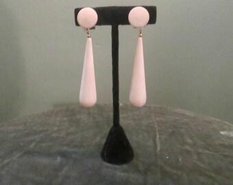 Vintage 1950s Mod White Dangle Earrings Long Drop Wood Earrings Clip On
