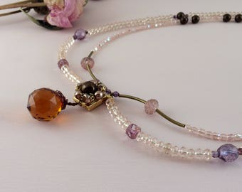 Beaded bohemian wedding necklace with crystals and vintage beads. Vintage wedding. Artisan wedding.