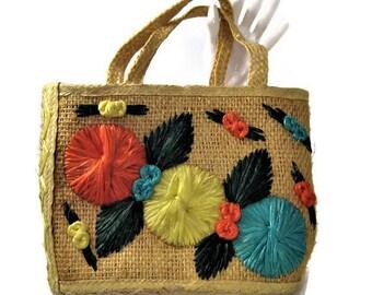 60s Straw Purse, Woven Straw Bag, Straw  Raffia Purse, Straw Hand Bag, Summer Purse, Floral Handbag Island Purse, 1960s Souvenir Purse
