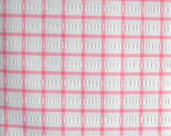 White and Pink Tropical Seersucker Fabric, Cotton/Polyester Blend, Fabric by the Yard, Sewing Fabric