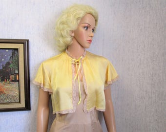 20s-30s M Rayon Satin Lingerie Bed Jacket Butter Yellow