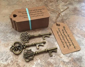 "Skeleton Key BOTTLE OPENERS + ""Poem"" Thank-You Tags – Wedding Favors set of 100 - Ships from United States - Antique Bronze - Mixed Styles"