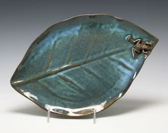 Ceramic Handmade Leaf Platter in Shades of Blue and Brown with FROG/Ceramics and Pottery