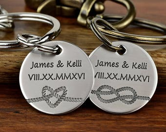 Tied the Knot Keychain Set, Wedding Keychain, Wedding Gift, Anniversary Keychains, Anniversary Gift, His and Her Keychain -Text up to 26char