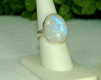 Moonstone Ring, Size 9, Blue Flash, Rainbow Moonstone,Sterling Silver, June Birthstone, Natural Moonstone,