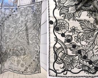 Scarf, Chiffon, Large Wrap, Shawl || Tree || Black and White Pattern || Cool, Fun, Graphic, Chiffon, Lightweight, Airy, Floaty