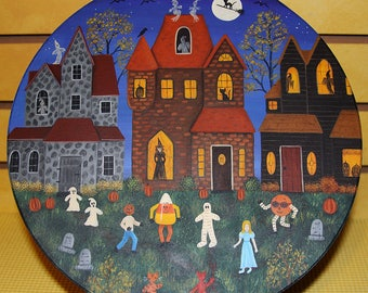 Trick or Treat Night Hand Painted Wood Plate, Primitive Halloween Folk Art, Spooky Village, Witch, Ghost, Black Cat, Cemetery MADE TO ORDER