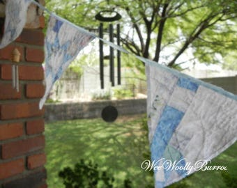 Repurposed Vintage Quilt Pennant, Banner, Bunting by Wee Woolly Burros