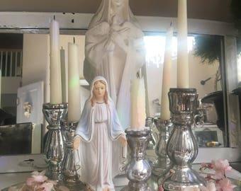 Vintage Sanmyro Virgin Mary - Pastel Pale Pink Blue