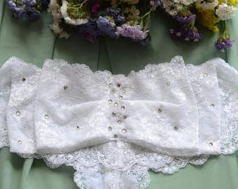 Clothing  Women's Clothing  Lingerie  Panties The Romantic Boudoir Bridal Crystals Bow Panties in White Lace SAMPLE SALE