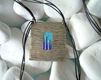 Handmade silver long necklace decorated with enamel in blue - 10134