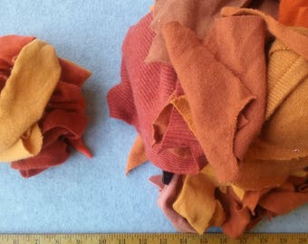 Cashmere Recycled Remnants - Reddish Orange to Light Tangerine for DIY Crafts and Projects - 16 oz. Bundle Size
