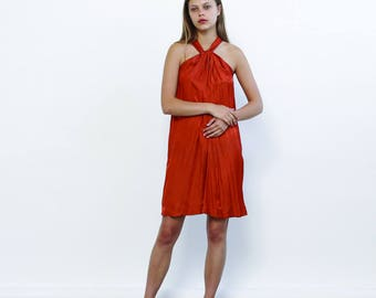 Big Summer Sale Summer Sale Tie Neck Summer Dress, Orange.
