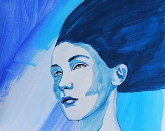 blue, paintings, originals, sale, lot, cheap, acrylics, signed, series, mythology, figurative, face, goddess, siren, mermaids, hair, water