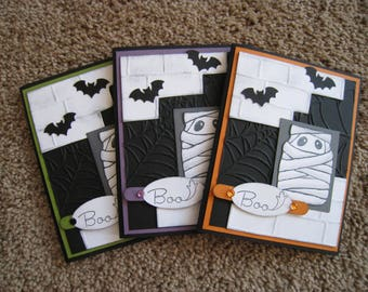 Set of Three Halloween Cards - Stampin Up - Mummy - Bats