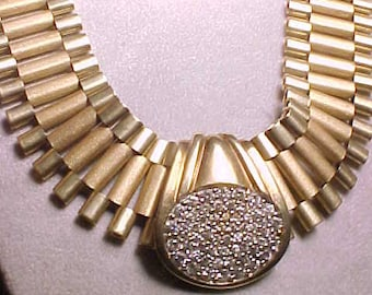 """Heavy 10k Gold and Pave Diamonds Necklace 122.7 grams 28.5"""" x 1""""  about 4 oz vintage 90s 417"""