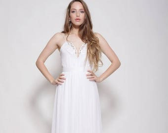 Boho wedding dress, strapless wedding dress, embroidery collar, open back wedding dress