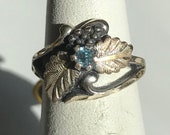 Sterling Silver Blue Stone Ring With Black Hills Leaf And Berry Design-Size 4 1/2