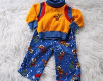 Vintage Sesame Street Outfit Size 6 12 Months Boys Girls Top Pants Space Gonzo