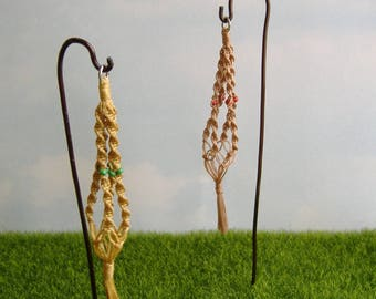 Dollhouse Miniature 2 Hanging Macrame Plant Holders
