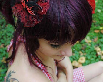 Swallow red Tulle hair clip