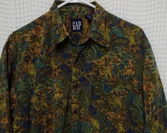 vintage 90s paisley Gap button up Shirt olive green fall colors Large all over baroque royalty design long sleeve casual hip hop fashion EUC