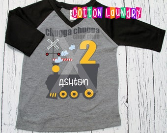 Birthday Shirt Train birthday Any Age applied train chugga chugga theme birthday shirt Two One Three Four or beyond