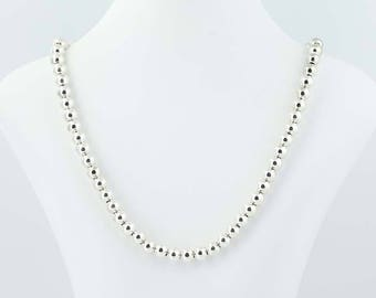 """Beaded Silver Necklace - Sterling Silver 20.5"""" Lobster Clasp 8.2mm Q9907"""