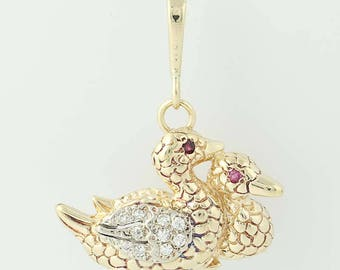 Diamond & Ruby Ducks Pendant - 14k Yellow Gold Textured Single Cut .20ctw U0081
