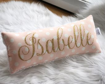 Belle's Bows name pillow/cushion.Pink,white and gold.Glitter gold vinyl name.Personalised girls.Pink and gold.Nursery decor.Gift.decor