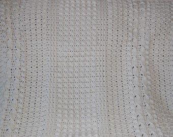 Aran Afghan Crochet 52x44 inches