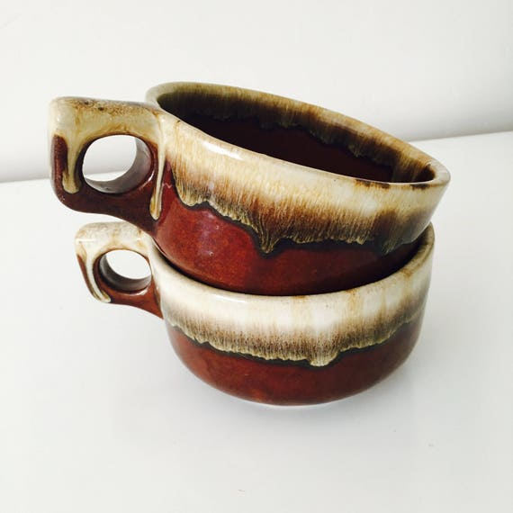 Vintage Western Stoneware Coffee Mugs WS Maple Leaf Brown Drip Boho Soup Bowls Set of 2