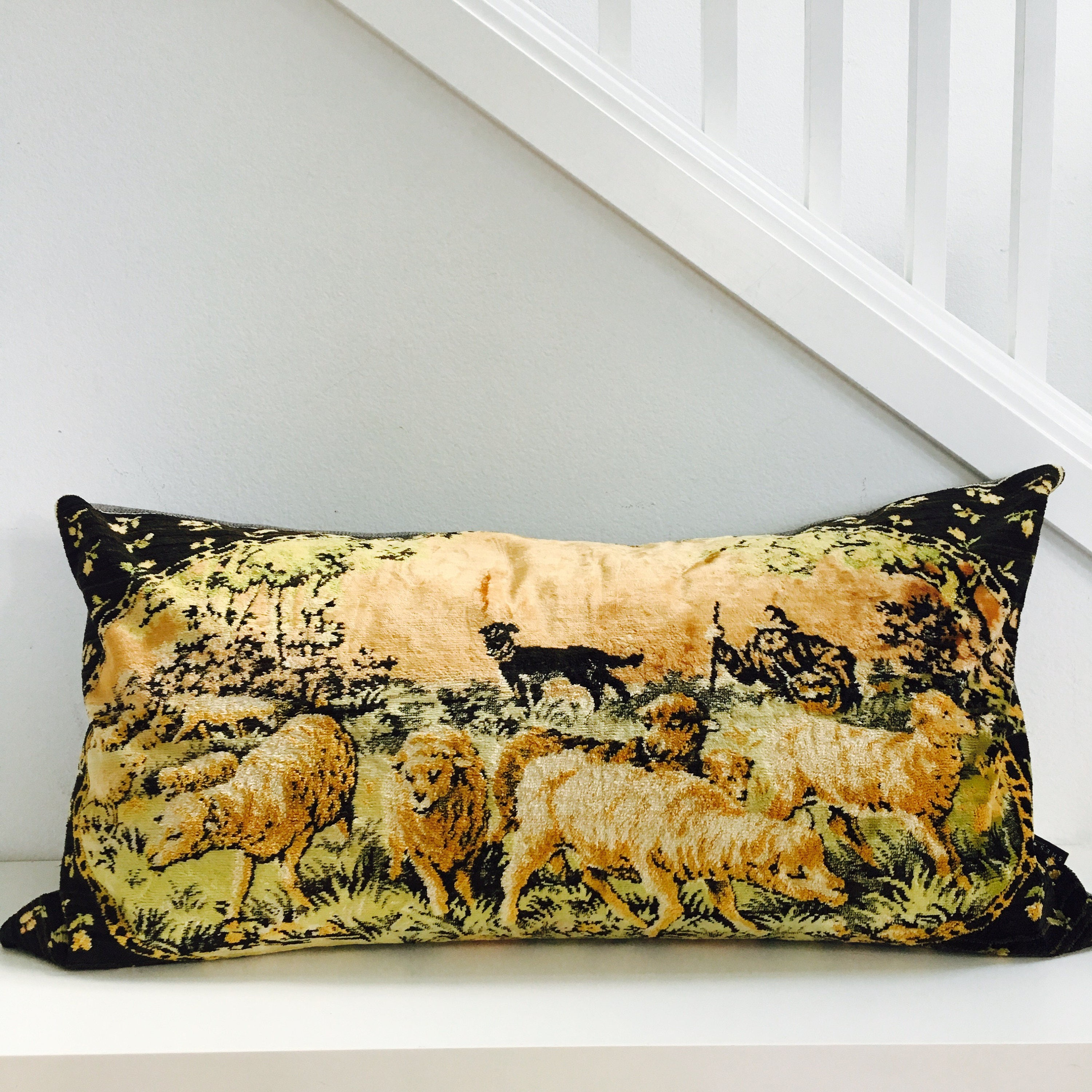 Velvet Sheep Herder Scene Boho Pillow Cover 18x36
