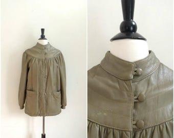 Summer Sale Vintage light brown Italian leather swing coat / Mario Conti / long beige leather jacket