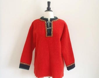SALE Vintage 1960's red wool bohemian wool sweater tunic / Norwegian embroidered trim pullover top