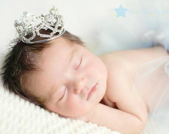 Baby Crown headband, silver crown, princess crown, baby crown, infant crown, newborn crown, baby girl crown, crown, crown for girl, tiara