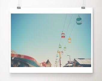 Santa Cruz photograph boardwalk photograph california photograph Santa Cruz print Santa Cruz boardwalk sky glider photograph