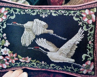 Cross Stitch Pattern | ORIENTAL CRANES | Pillow | Cushion | Linda Bird | Counted Cross Stitch Pattern | Chart | fam