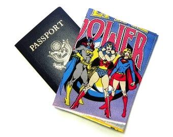 Passport Cover - Passport Holder - Wonder Women Batgirl Super Girl - Girl Superhero Comics fabric - Women Super Hero