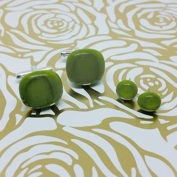 Avocado Green Matching Glass Cuff Links and Earrings, Wedding, Prom or Formal Attire